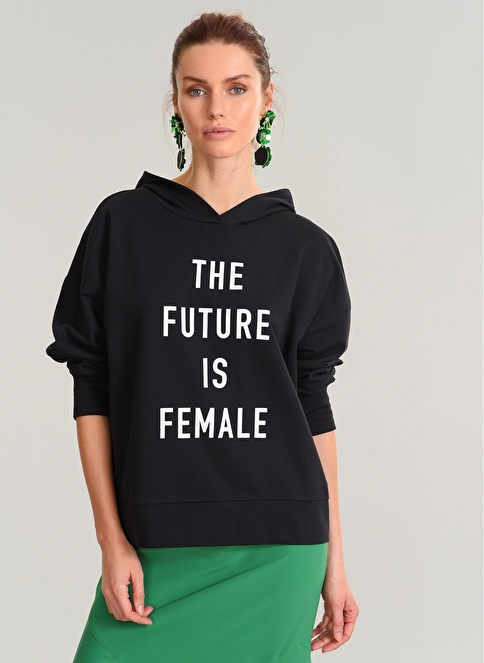 People By Fabrika Kapişonlu Sweatshirt Siyah